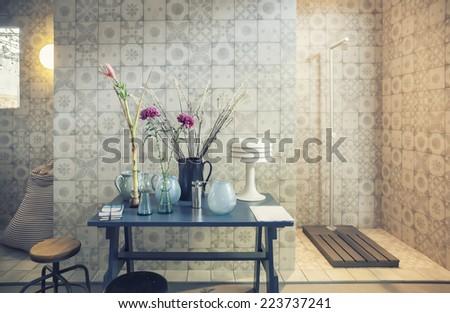 interior of designed bath room  - stock photo