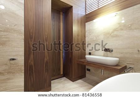Interior of designer bathroom - stock photo