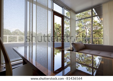 Interior of designer  room with beautiful view from window