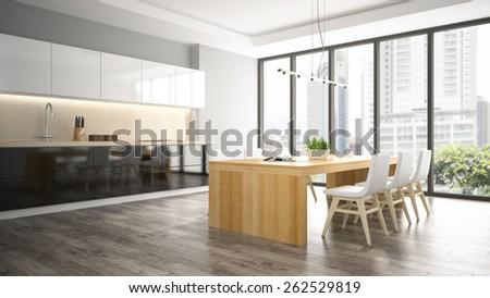 Interior of dining room 3D rendering  - stock photo
