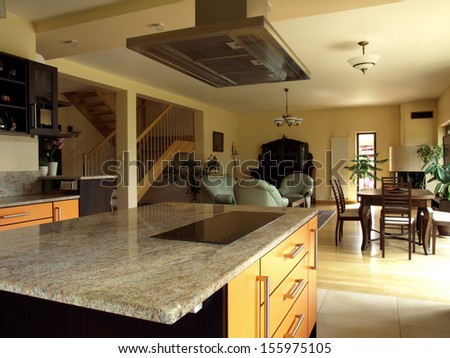 Interior of dining room in modern luxury house - stock photo