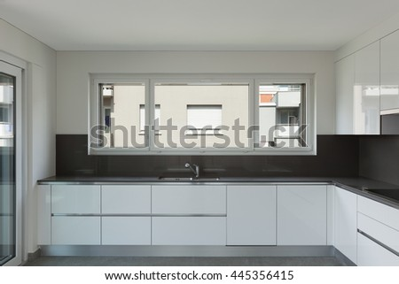 Interior of empty apartment, modern kitchen