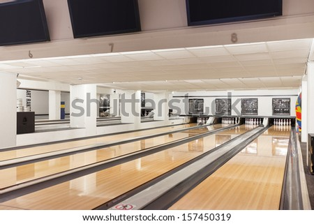 Interior of empty bowling club - stock photo