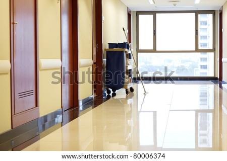 Interior of empty corridor of hospital - stock photo