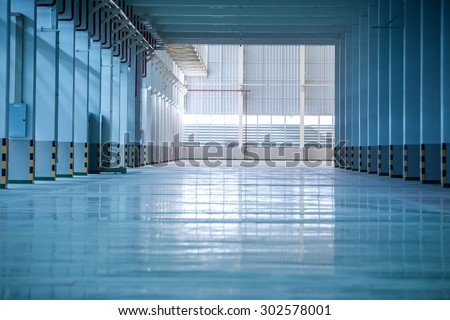 Interior of empty hall in factory - stock photo
