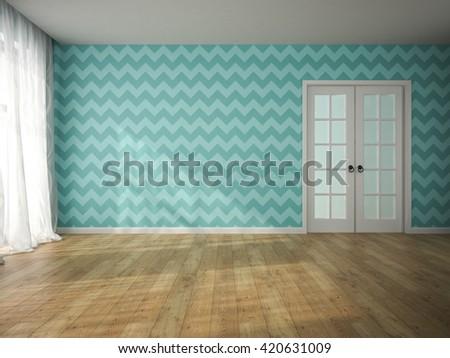 Interior of empty room with blue wallpaper and door 3D rendering  - stock photo