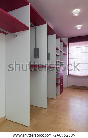 Interior of empty wardrobe room  - stock photo