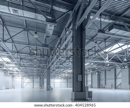 Interior of empty warehouse - stock photo