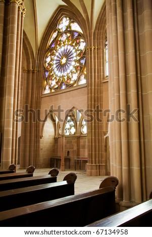 Interior of european catholic church - stock photo