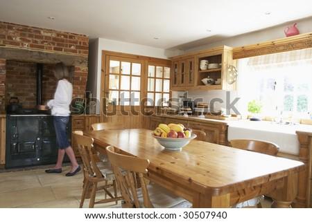 Interior Of Farmhouse Kitchen - stock photo