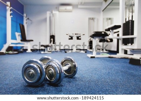 interior of fitness center - stock photo