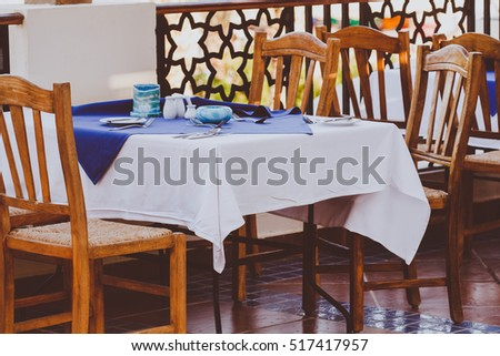 Interior of Food CourtWooden Tables and Chairs in the Modern Open Air Cafe & Interior Food Court Wooden Tables Chairs Modern Stock Photo (Safe to ...
