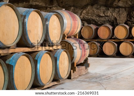 Interior of french winery with  wooden barrels in rows - stock photo