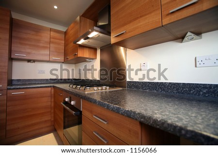 Interior of galley-style kitchen