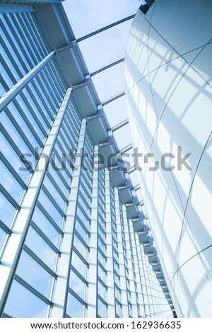 Interior of Glass in Business Corporate building Financial Skyscrapers, City of London, England, UK  - stock photo