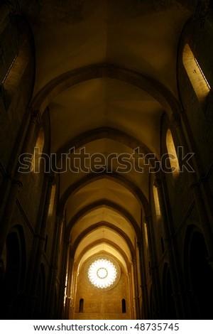 Interior of gothic church - stock photo