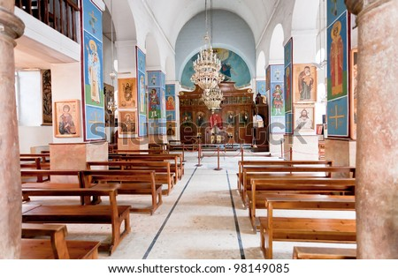 interior of Greek Orthodox Basilica of Saint George in town Madaba, Jordan - stock photo