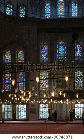 Interior of he Blue Mosque in Istanbul, Turkey