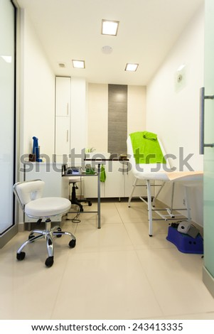 Interior of healthy beauty spa salon. Modern equipment in treatment room. Luxury relax therapy.