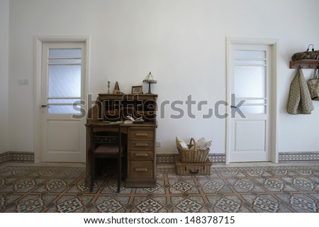 Interior of home office in 1950s townhouse - stock photo