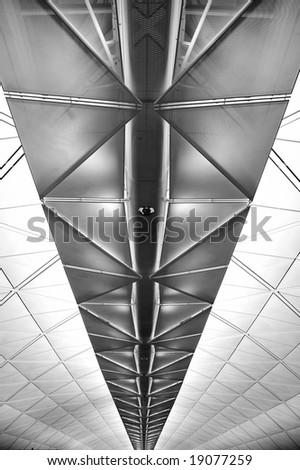 Interior of Hong Kong International Airport - stock photo