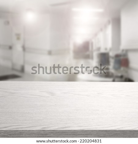 interior of hospital and white top of free space for you  - stock photo