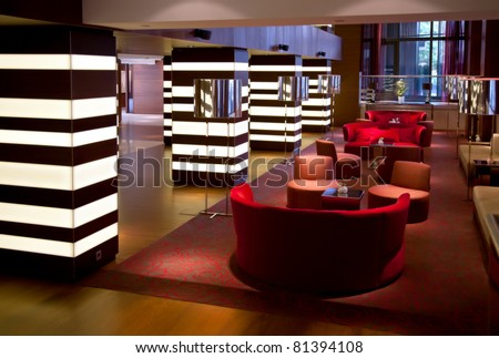 interior of hotel hall - stock photo