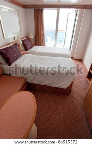 interior of hotel room on cruise liner - two bed room - stock photo