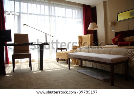 interior of hotel room or bedroom