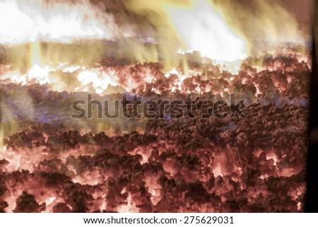 Interior of industrial coal furnace - stock photo
