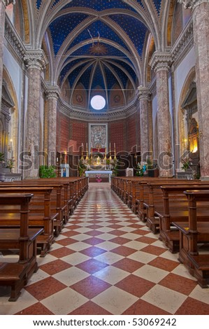 Interior of Italian church - stock photo
