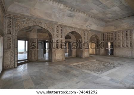 Interior of Itmad-ud-Daulas Tomb, usually called the Baby Taj. - stock photo