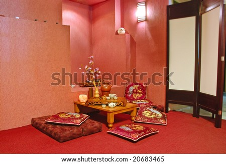 Interior of japanese or chinese restaurant in red tone - stock photo