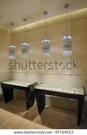 Interior of jeweller shop - stock photo