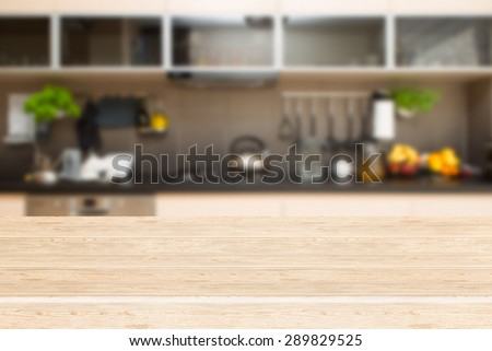 Interior of kitchen and desk space. - stock photo