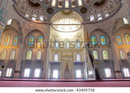 Interior of Kocatepe Mosque in Ankara, Turkey - stock photo