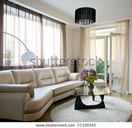 Interior of light living room - stock photo