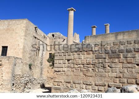 Interior of Lindos Acropolis, Rhodes island, Greece - stock photo