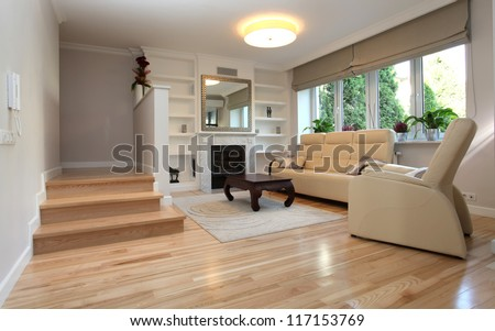 Interior of living room in luxurious house - stock photo