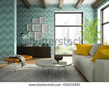 Interior of living room with blue wallpapers 3D rendering  - stock photo