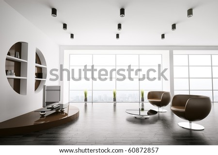 Interior of living room with brown armchairs and lcd 3d render - stock photo