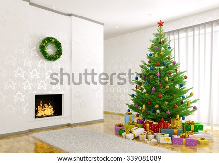 Interior of living room with christmas tree, fireplace, gifts 3d render - stock photo