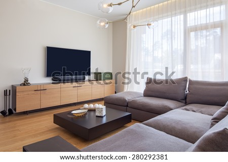 Interior of living room with TV - stock photo
