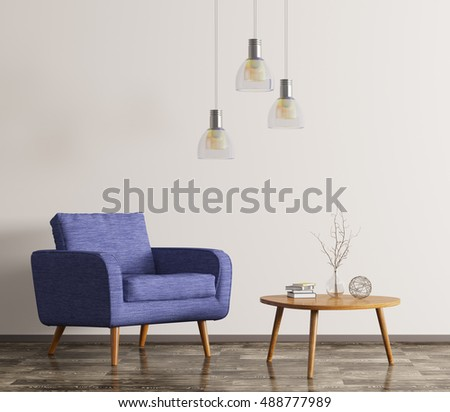 Interior Of Living Room With Wooden Coffee Table And Blue Armchair 3d  Rendering Part 85