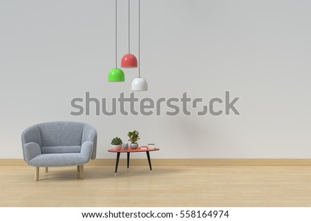 wood table lamps living room. Interior of living room with wooden table  lamps and armchair on Wooden floor background Living Room Table Lamps Stock Illustration