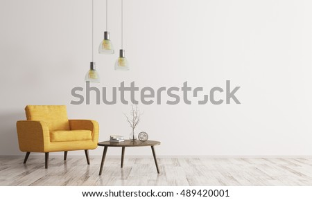 Interior of living room with wooden triangular coffee table, lamps and  yellow armchair 3d rendering