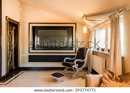 Interior of luxury and baroque room in residence - stock photo
