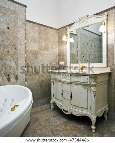 luxury rustic furniture. interior of luxury bathroom with beautiful oldstyled rustic furniture