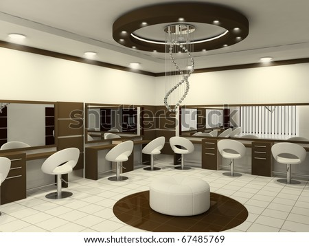 Interior of Luxury Beauty Salon. Workplaces.