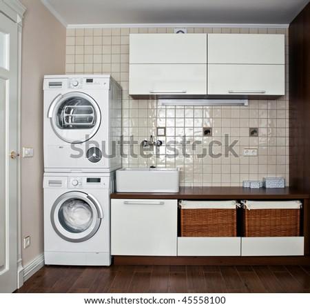 Interior of luxury laundry room - stock photo